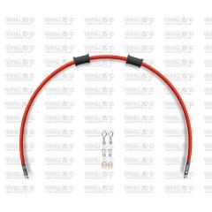 Galinės stabdžių žarnelės rinkinys Venhill POWERHOSEPLUS (1 žarnelė rinkinyje) Red hoses, chromed fittings