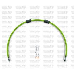 Priekinės stabdžių žarnelės komplektas Venhill POWERHOSEPLUS MZ-2001F-GR (1 žarnelė rinkinyje) Green hoses, chromed fittings
