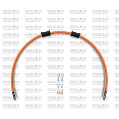 Priekinės stabdžių žarnelės komplektas Venhill POWERHOSEPLUS MZ-2001F-OR (1 žarnelė rinkinyje) Orange hoses, chromed fittings