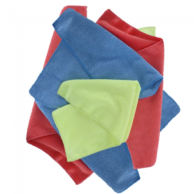 Įrankiai Oxford Microfibre Towels Pack of 6 Blue/Yellow/Red