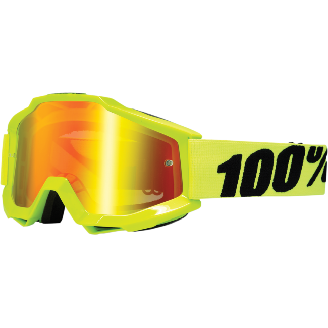 MX GOGGLE 100% ACCURI FLUO YELLOW MIRROR