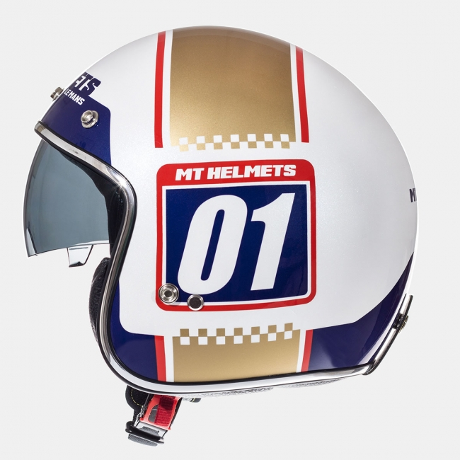 ATVIRAS ŠALMAS MT HELMETS LE MANS NUMBERPLATE GOLD