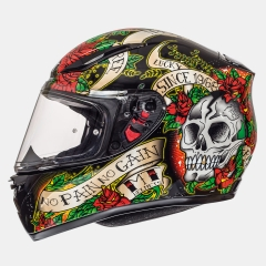 ŠALMAS MT HELMETS REVENGE SKULL & ROSE GLOSS BLACK/RED