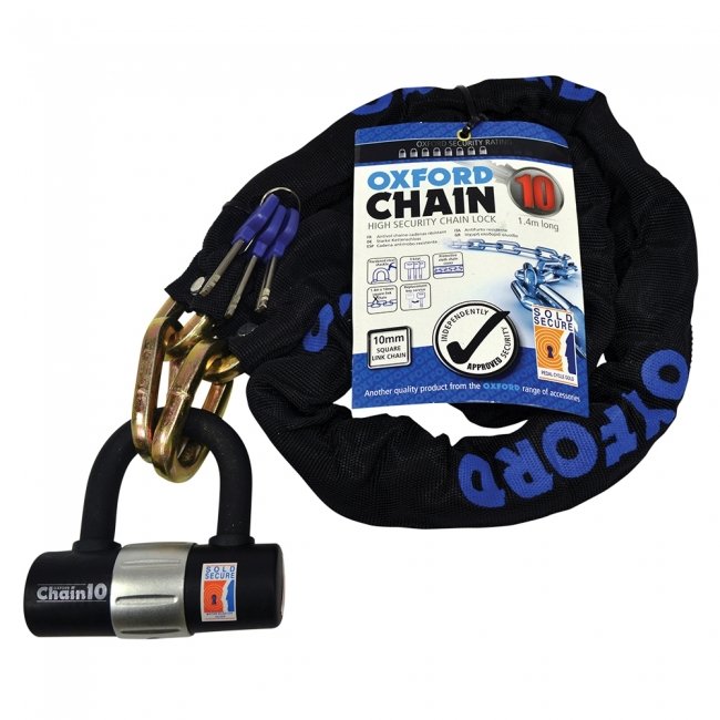 MOTOCIKLO UŽRAKTAS OXFORD CHAIN10 10mm x 1.4 MTR CHAIN & LOCK