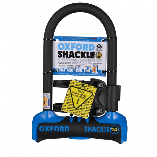 MOTOCIKLO UŽRAKTAS OXFORD SHACKLE 14 U-LOCK BLUE 260mm x 177mm