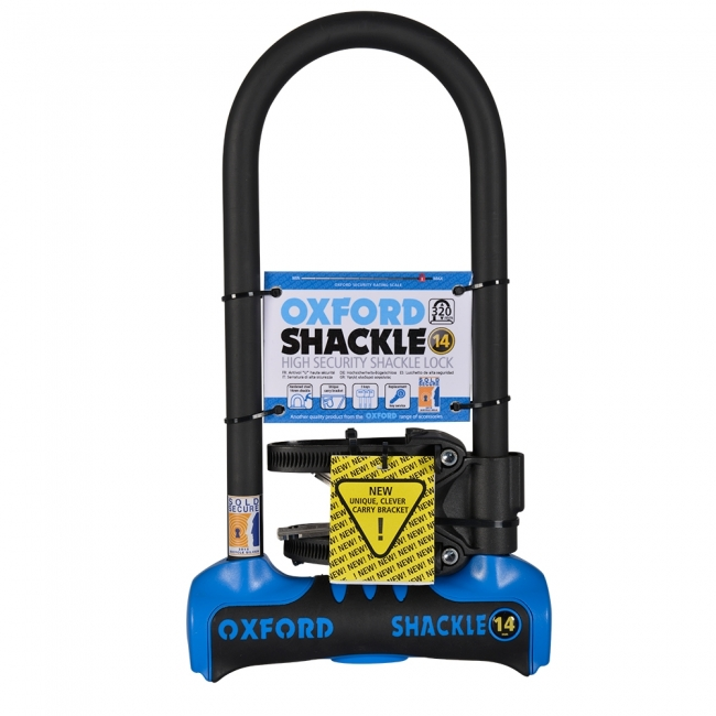 MOTOCIKLO UŽRAKTAS OXFORD SHACKLE 14 U-LOCK BLUE 320mm x 177mm
