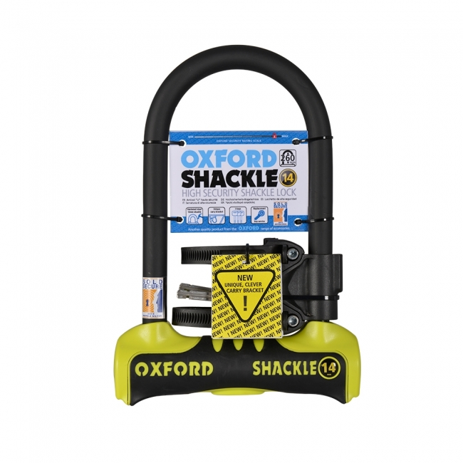 MOTOCIKLO UŽRAKTAS OXFORD SHACKLE 14 U-LOCK YELLOW 260mm x 177mm
