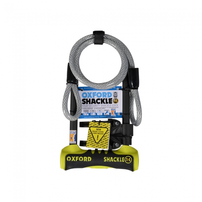 MOTOCIKLO UŽRAKTAS OXFORD SHACKLE 14 DUO U-LOCK YELLOW 320mm x 177mm