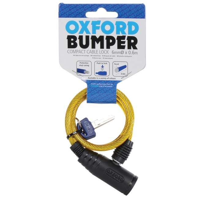 MOTOCIKLO UŽRAKTAS OXFORD Bumper cable lock Yellow