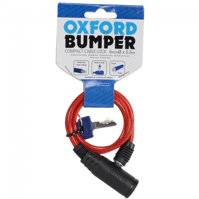 MOTOCIKLO UŽRAKTAS OXFORD Bumper cable lock Red