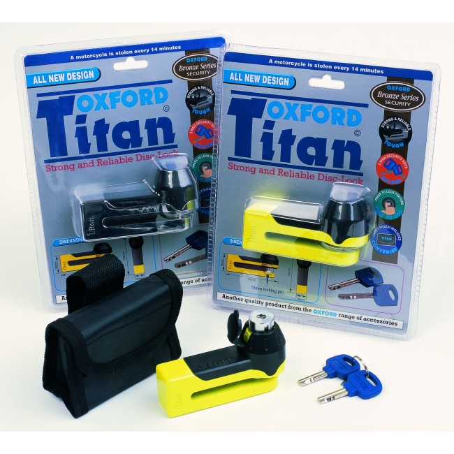 ANTI-THEFT SYSTEM OXFORD TITAN DISC LOCK YELLOW